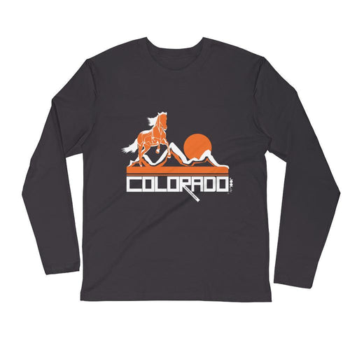 Colorado Hill Horse Long Sleeve Men's T-Shirt T-Shirt 2XL designed by JOOLcity