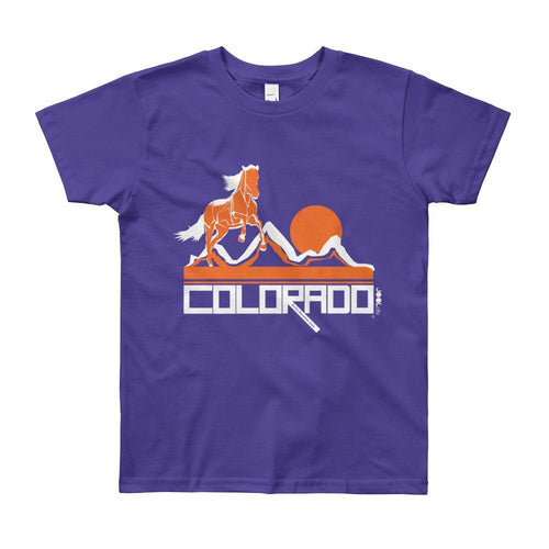 Colorado Hill Horse Short Sleeve Youth youth t-shirt T-Shirt Purple / 12yrs designed by JOOLcity
