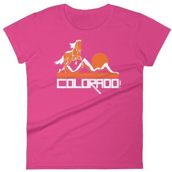 Colorado Hill Horse Women's Short Sleeve T-Shirt T-Shirt Hot Pink / 2XL designed by JOOLcity