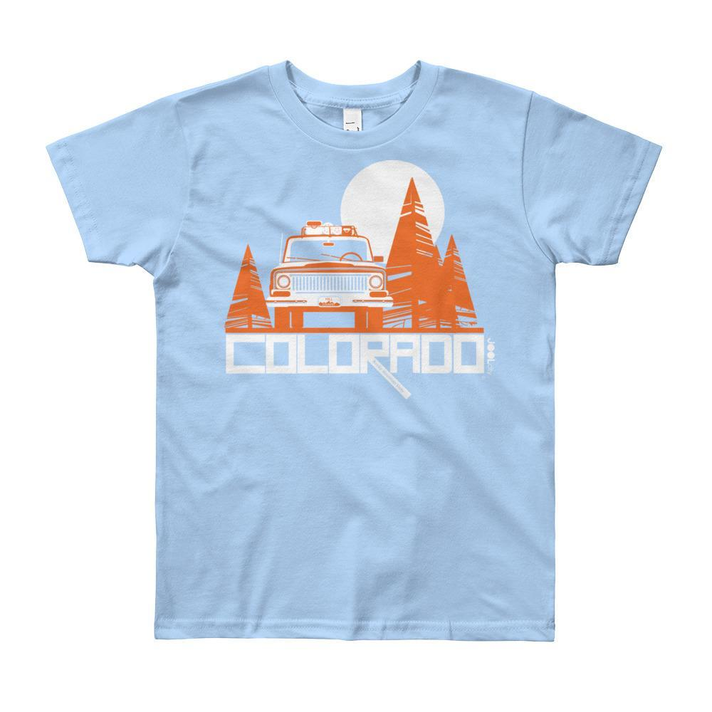 Colorado Wagon Wheel Short Sleeve Youth youth t-shirt T-Shirt Baby Blue / 12yrs designed by JOOLcity