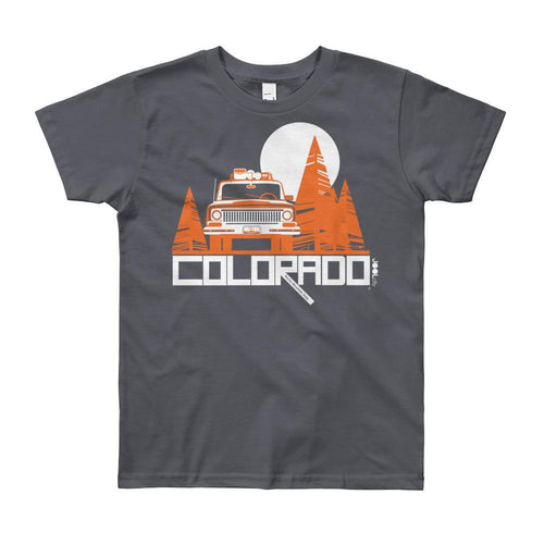 Colorado Wagon Wheel Short Sleeve Youth youth t-shirt T-Shirt Slate / 12yrs designed by JOOLcity