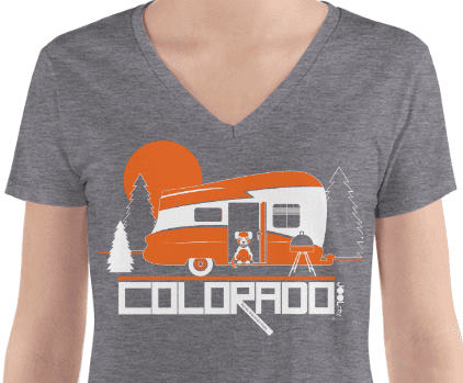 ColoradoCamper Women's Fashion Deep V-neck Tee T-Shirt  designed by JOOLcity