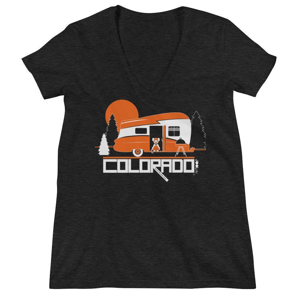 ColoradoCamper Women's Fashion Deep V-neck Tee T-Shirt Charcoal black Triblend / 2XL designed by JOOLcity