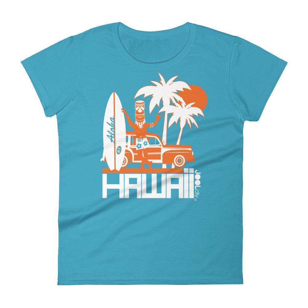 Hawaii  Surfin Woody  Women's   Short Sleeve T-Shirt T-Shirt Caribbean Blue / 2XL designed by JOOLcity