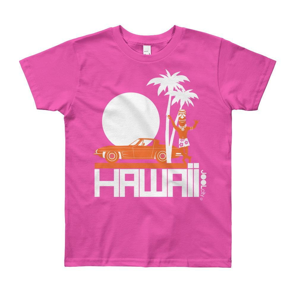 Hawaii Tiki Guy Ride Short Sleeve Youth T-shirt T-Shirt Fuchsia / 12yrs designed by JOOLcity