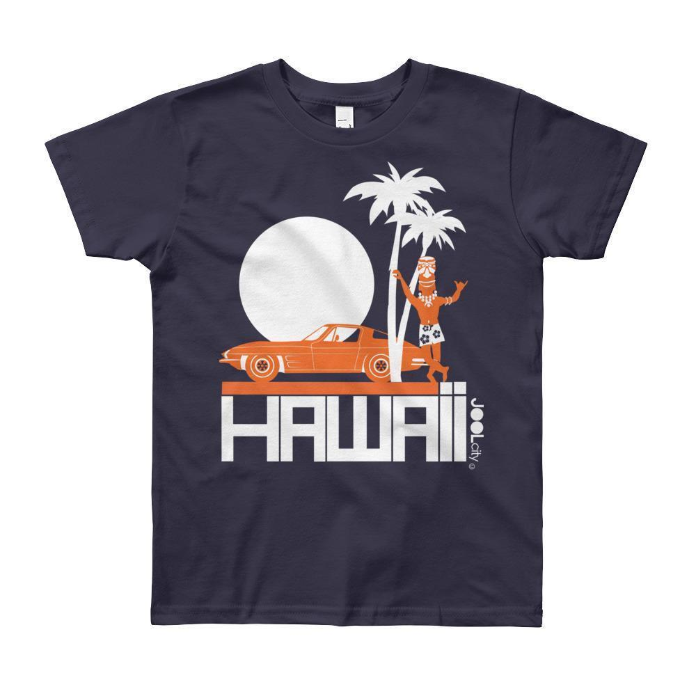 Hawaii Tiki Guy Ride Short Sleeve Youth T-shirt T-Shirt Navy / 12yrs designed by JOOLcity
