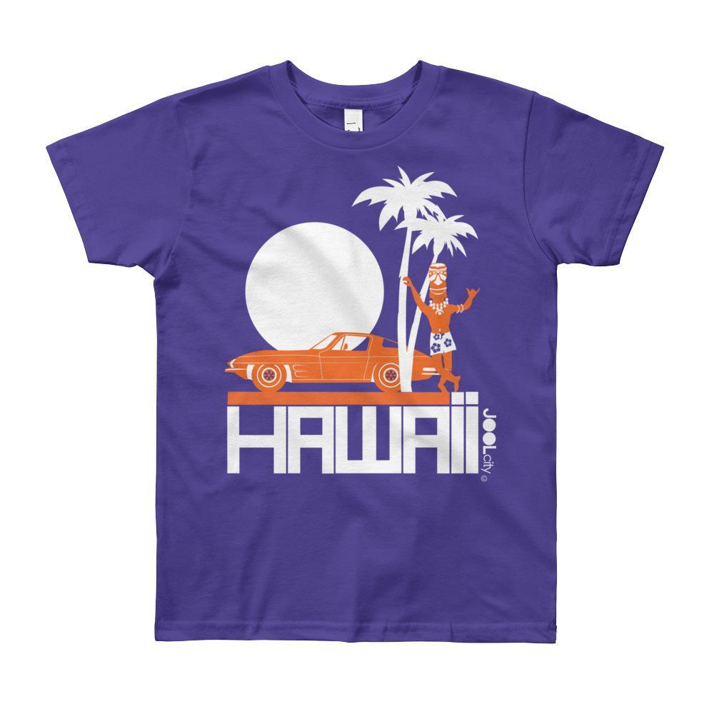 Hawaii Tiki Guy Ride Short Sleeve Youth T-shirt T-Shirt Purple / 12yrs designed by JOOLcity