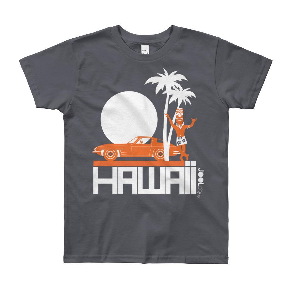 Hawaii Tiki Guy Ride Short Sleeve Youth T-shirt T-Shirt Slate / 12yrs designed by JOOLcity