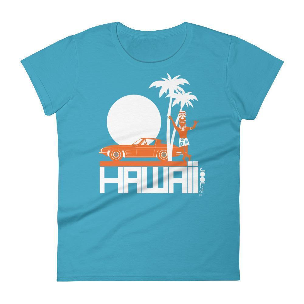 Hawaii  Tiki Guy Ride  Women's   Short Sleeve T-Shirt T-Shirt Caribbean Blue / 2XL designed by JOOLcity