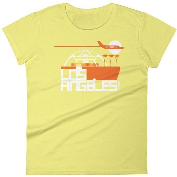 Los Angeles  Flight Time  Women's  Short Sleeve T-Shirt T-Shirt Spring Yellow / 2XL designed by JOOLcity
