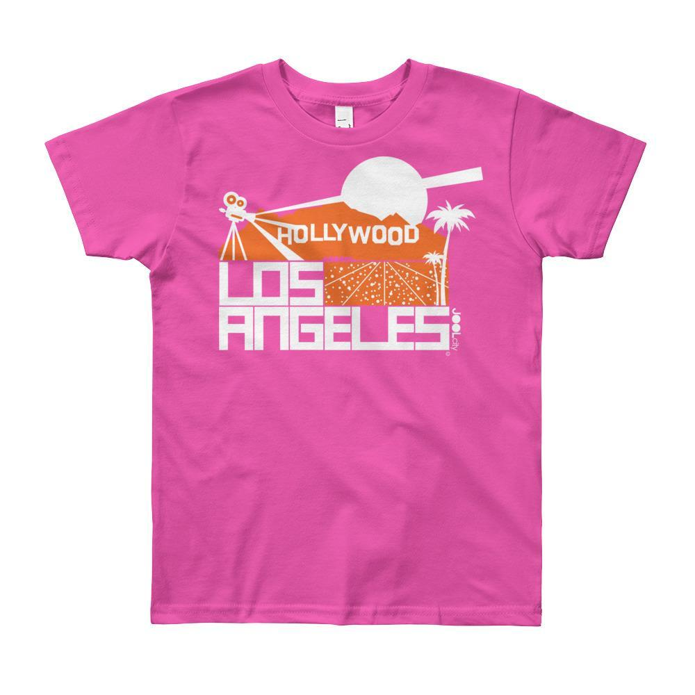 Los Angeles Hollywood Hiils Short Sleeve Youth T-shirt T-Shirt Fuchsia / 12yrs designed by JOOLcity