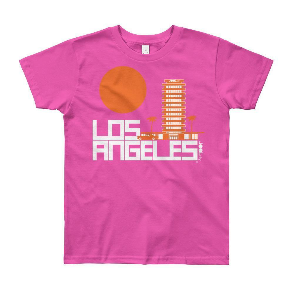 Los Angeles JOOLcity Tower Short Sleeve Youth T-shirt T-Shirt Fuchsia / 12yrs designed by JOOLcity