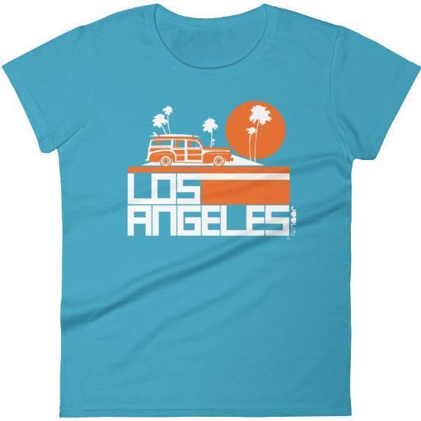 Los Angeles  Woody Wagon  Women's  Short Sleeve T-Shirt T-Shirt Caribbean Blue / 2XL designed by JOOLcity