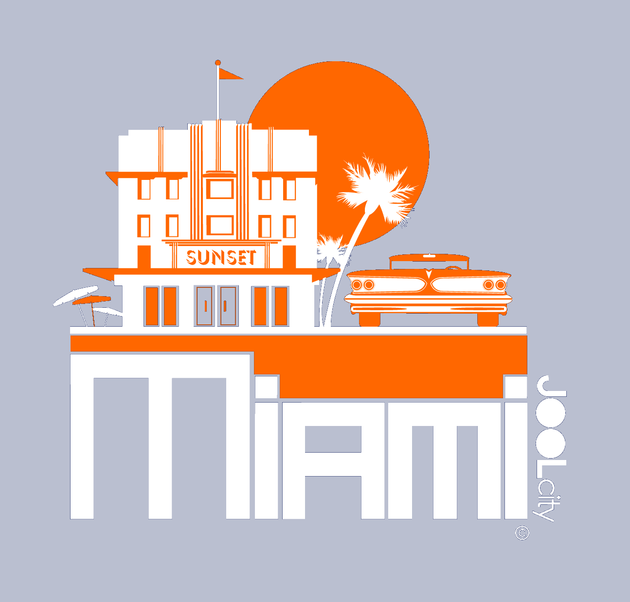 Miami Deco Ride Baby Onesie