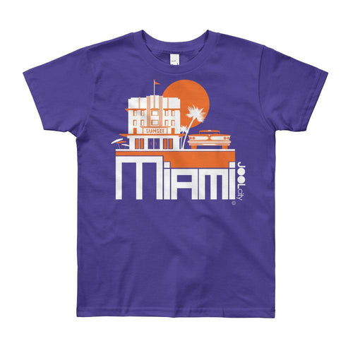 Miami Deco Ride Short Sleeve Youth T-shirt T-Shirt Purple / 12yrs designed by JOOLcity