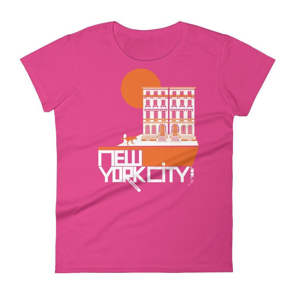 New York Brownstone Doggy Women's Short Sleeve T-Shirt T-Shirt Hot Pink / 2XL designed by JOOLcity