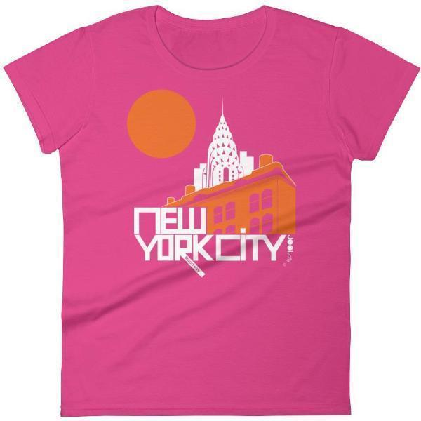 New York Gotham Deco Women's  Short Sleeve T-Shirt T-Shirt Hot Pink / 2XL designed by JOOLcity