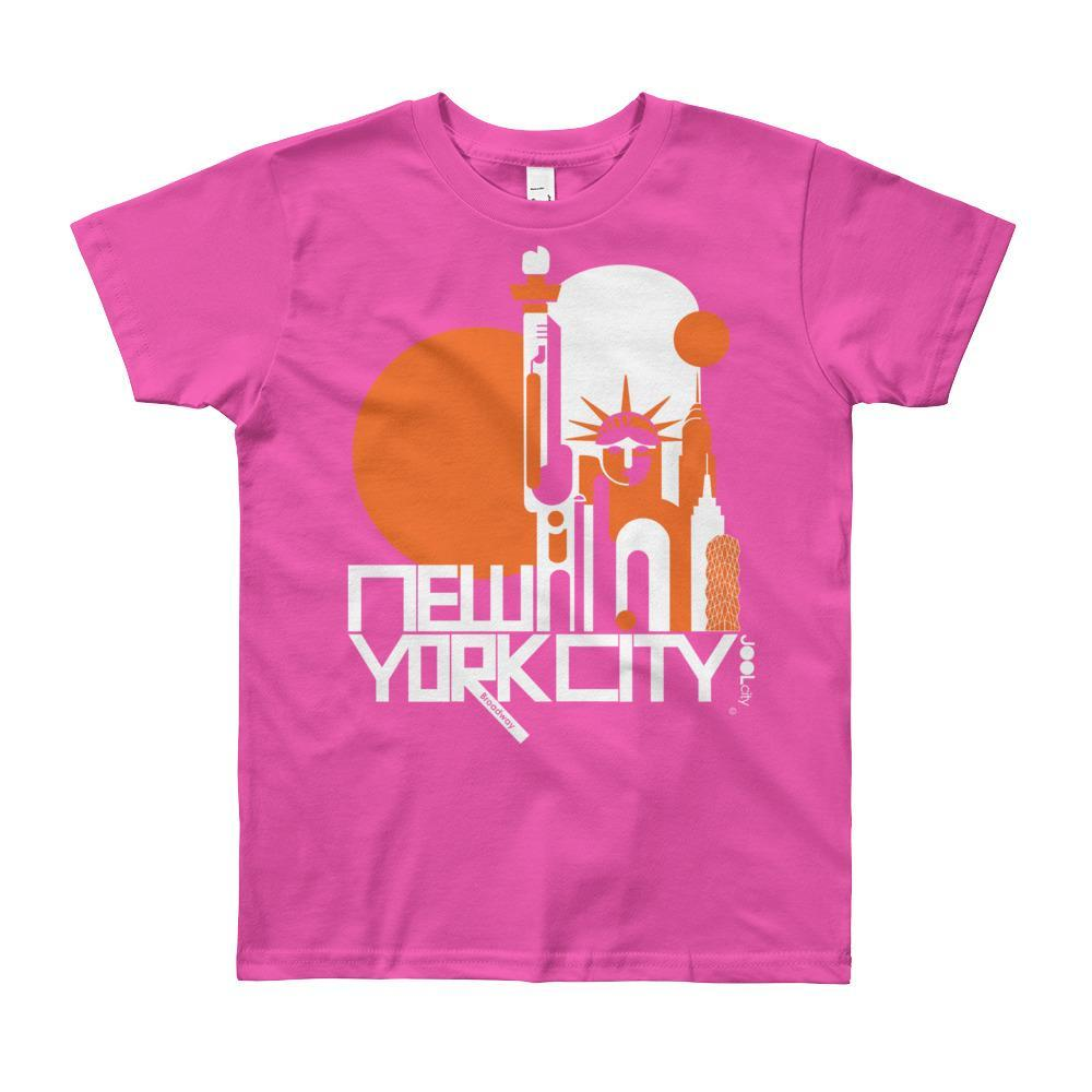 New York Lady Liberty Short Sleeve Youth T-shirt T-Shirt Fuchsia / 12yrs designed by JOOLcity