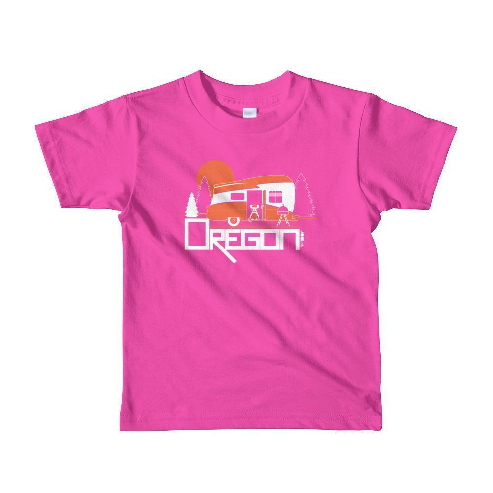 Oregon Camping Pup Toddler Short-Sleeve T-Shirt T-Shirt Fuchsia / 6yrs designed by JOOLcity