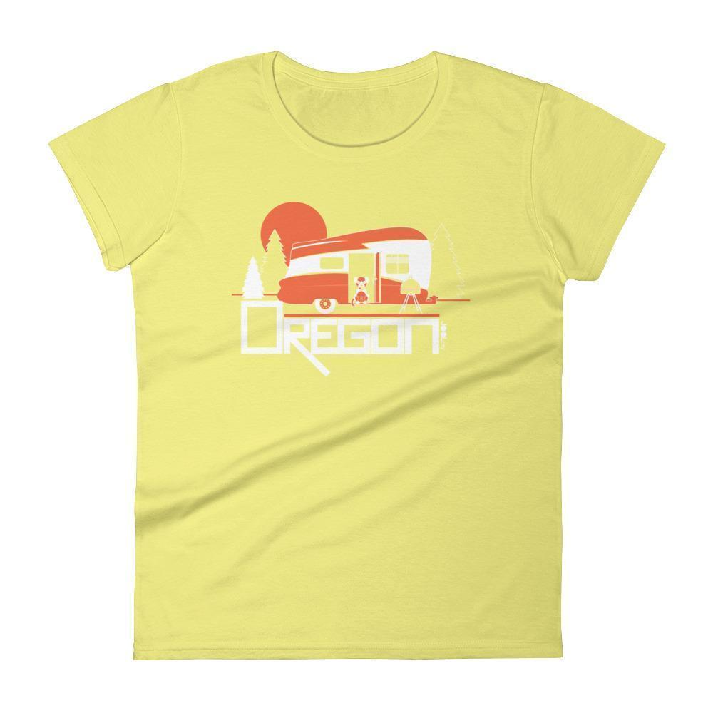 Oregon  Camping Pup  Women's Short Sleeve T-Shirt T-Shirt Spring Yellow / 2XL designed by JOOLcity