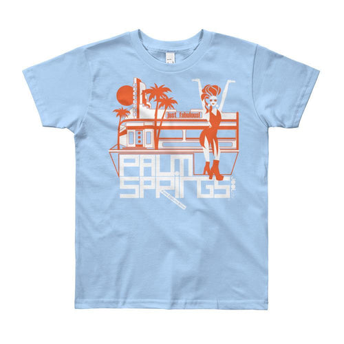 Palm Springs Fabulous Short Sleeve Youth T-shirt T-Shirt Baby Blue / 12yrs designed by JOOLcity