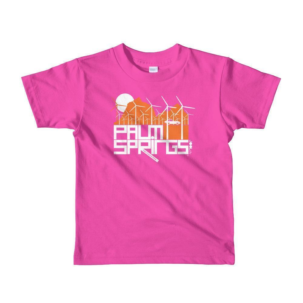 Palm Springs Wind Farm Toddler Short Sleeve T-shirt T-Shirt Fuchsia / 6yrs designed by JOOLcity