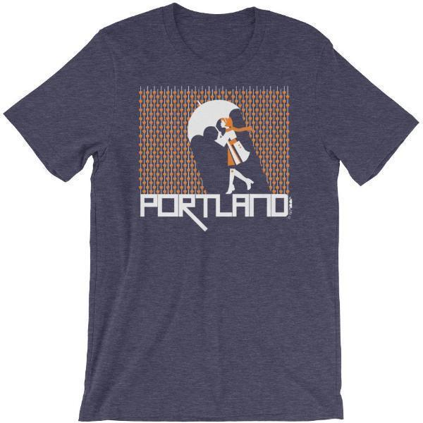 Portland Raining Hearts Short-Sleeve Men's  T-Shirt T-Shirt Heather Midnight Navy / 2XL designed by JOOLcity