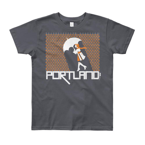 Portland Raining Hearts Short Sleeve Youth T-shirt T-Shirt Slate / 12yrs designed by JOOLcity
