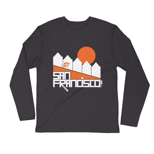 San Francisco Alamo Square Cyclist Long Sleeve Men's T-Shirt T-Shirt 2XL designed by JOOLcity