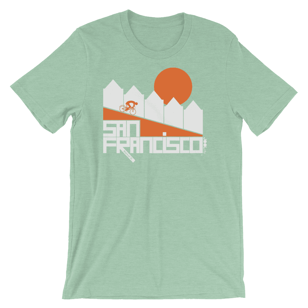 San Francisco Alamo Square Cyclist Short-Sleeve Men's T-Shirt T-Shirt Heather Prism Mint / 2XL designed by JOOLcity