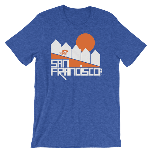 San Francisco Alamo Square Cyclist Short-Sleeve Men's T-Shirt T-Shirt Heather True Royal / 2XL designed by JOOLcity