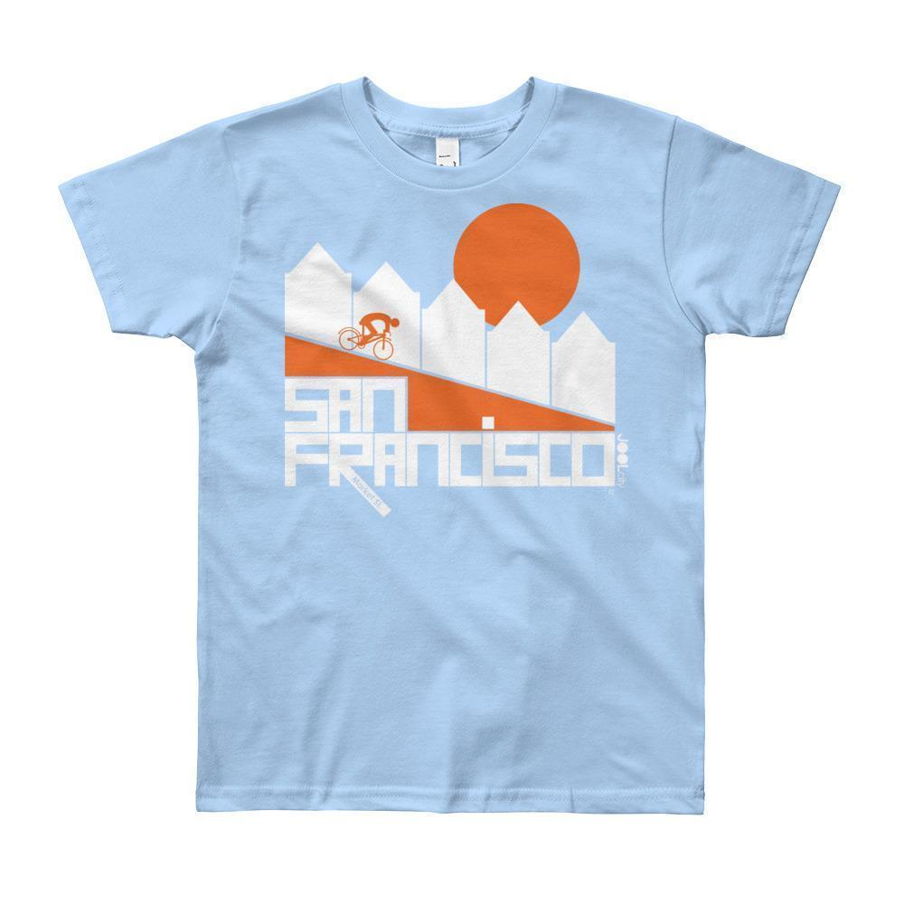 San Francisco Alamo Square Cyclist Short Sleeve Youth T-shirt T-Shirt Baby Blue / 12yrs designed by JOOLcity