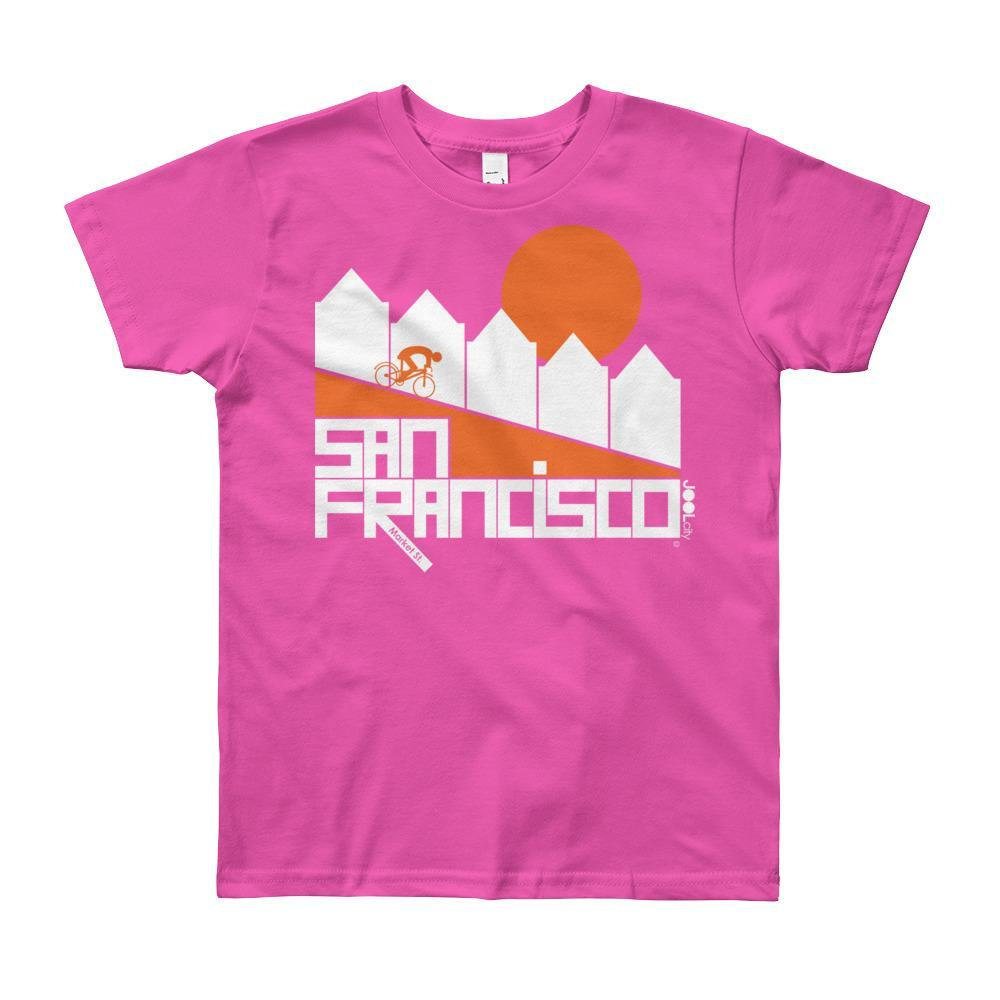 San Francisco Alamo Square Cyclist Short Sleeve Youth T-shirt T-Shirt Fuchsia / 12yrs designed by JOOLcity