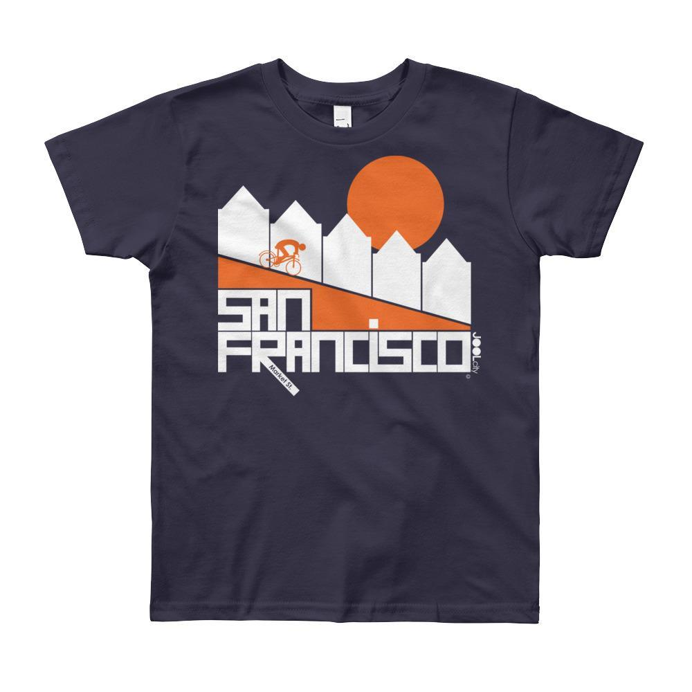 San Francisco Alamo Square Cyclist Short Sleeve Youth T-shirt T-Shirt Navy / 12yrs designed by JOOLcity