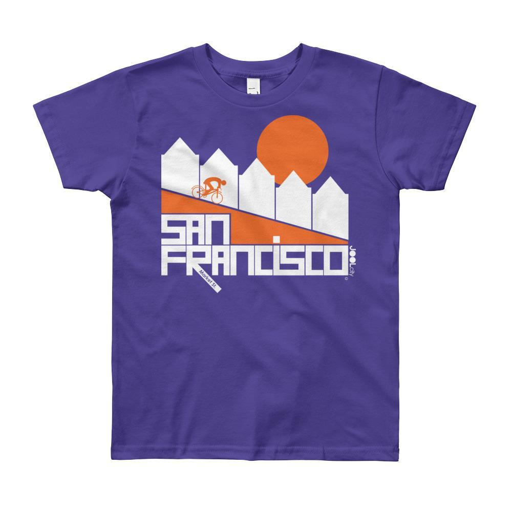 San Francisco Alamo Square Cyclist Short Sleeve Youth T-shirt T-Shirt Purple / 12yrs designed by JOOLcity