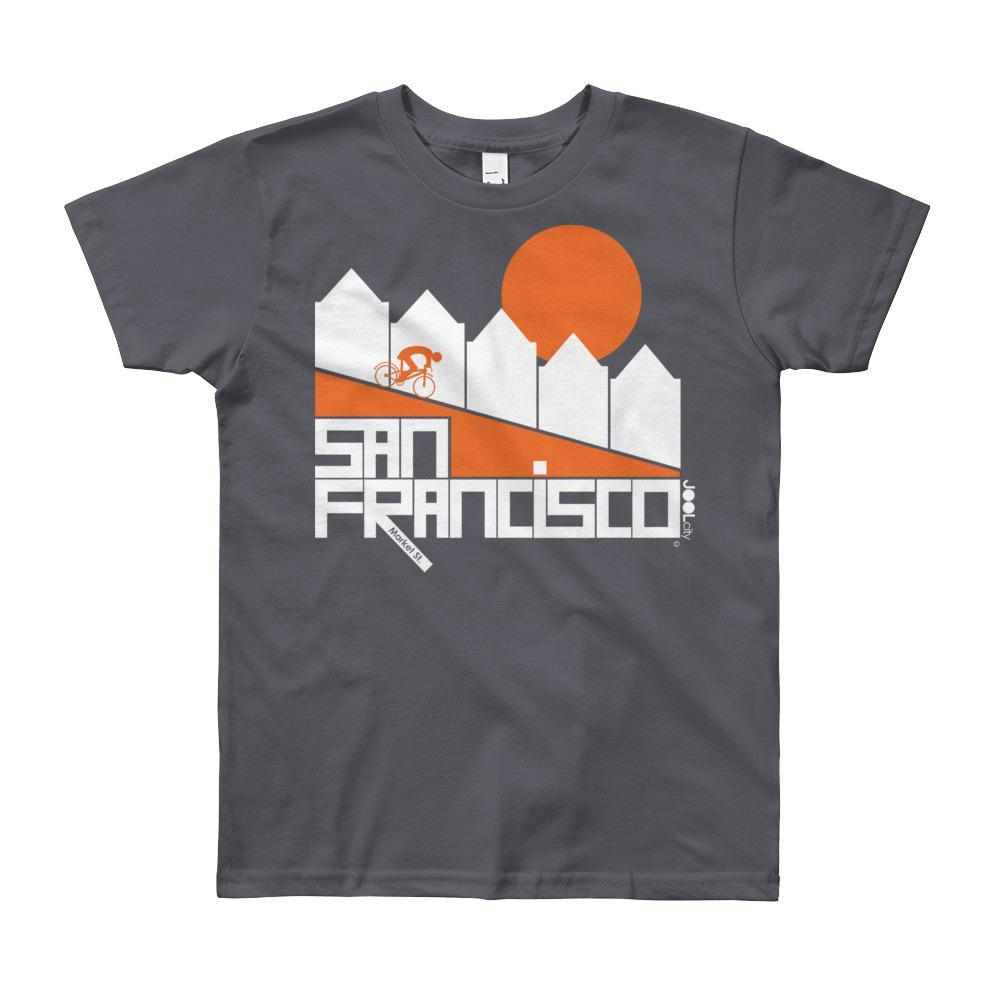 San Francisco Alamo Square Cyclist Short Sleeve Youth T-shirt T-Shirt Slate / 12yrs designed by JOOLcity