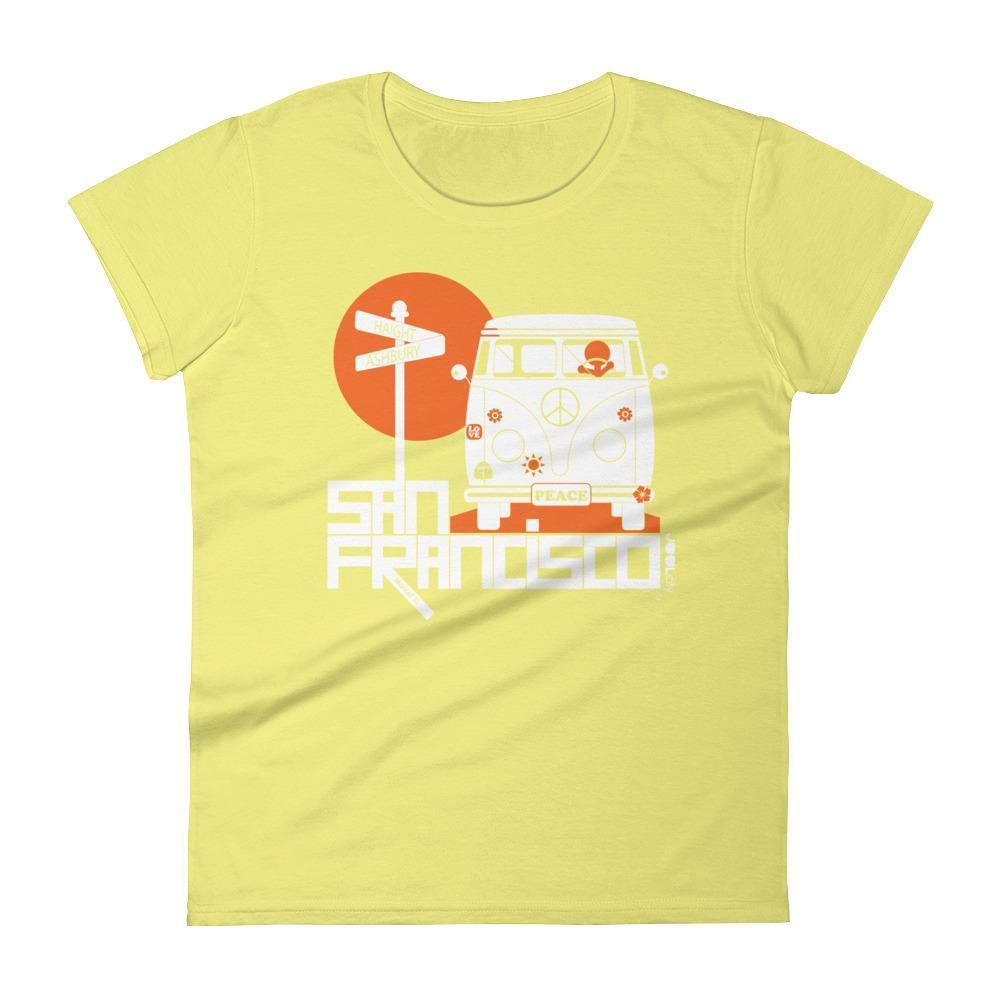 San Francisco  Ashbury Love  Women's  Short Sleeve T-Shirt T-Shirt Spring Yellow / 2XL designed by JOOLcity