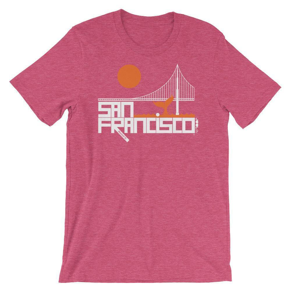 San Francisco  Whale Tail  Short-Sleeve Men's  T-Shirt T-Shirt Heather Raspberry / 2XL designed by JOOLcity