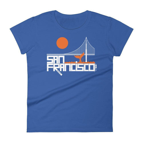 San Francisco  Whale Tail  Women's  Short Sleeve T-Shirt T-Shirt Royal Blue / 2XL designed by JOOLcity