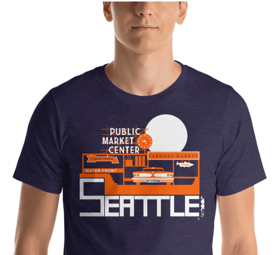Seattle Market Ride Short-Sleeve Men's  T-Shirt T-Shirt  designed by JOOLcity