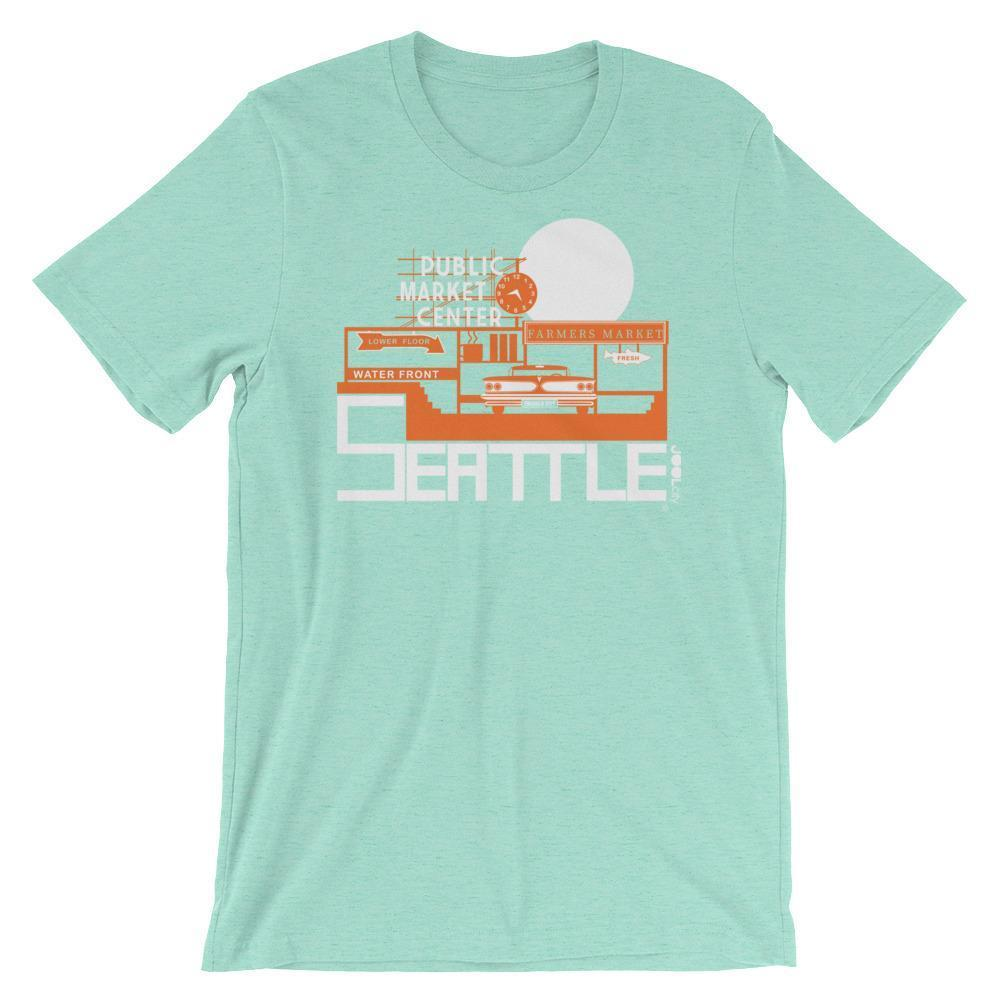 Seattle Market Ride Short-Sleeve Men's  T-Shirt T-Shirt Heather Mint / 2XL designed by JOOLcity