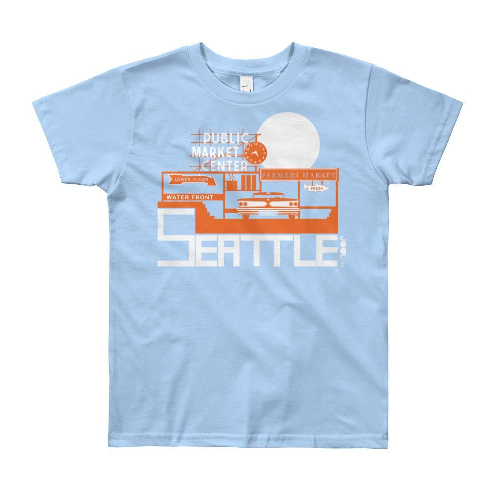 Seattle Market Ride Short Sleeve Youth T-shirt T-Shirt Baby Blue / 10yrs designed by JOOLcity