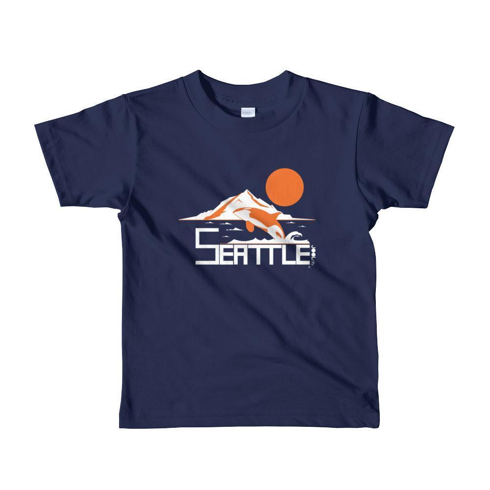 Seattle Orca Love Toddler Short-Sleeve T-Shirt T-Shirt Navy / 6yrs designed by JOOLcity