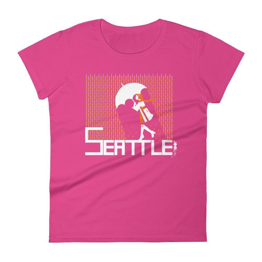 Seattle Raining Hearts Women's Short Sleeve T-Shirt T-Shirt Hot Pink / 2XL designed by JOOLcity