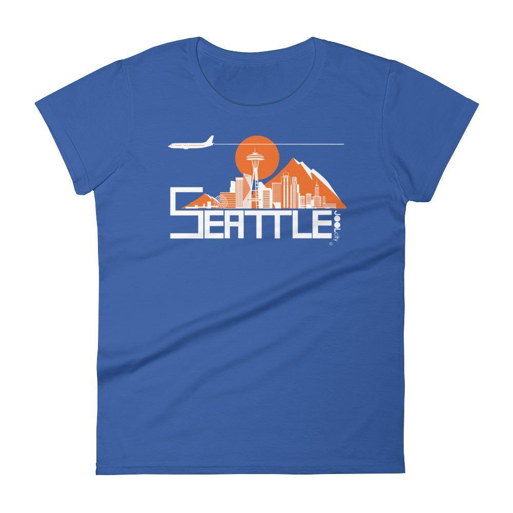 Seattle Skyline Flight Women's Short Sleeve T-Shirt T-Shirt Royal Blue / 2XL designed by JOOLcity
