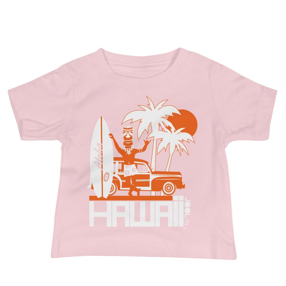 Hawaii Surfin Woody Baby Jersey Short Sleeve Tee T-Shirts Pink / 18-24m designed by JOOLcity