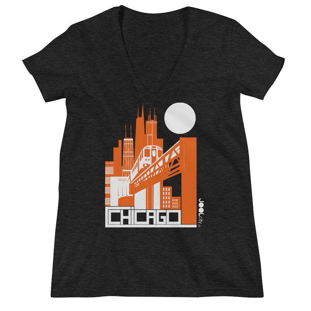 Chicago El Train Women's Fashion Deep V-neck Tee