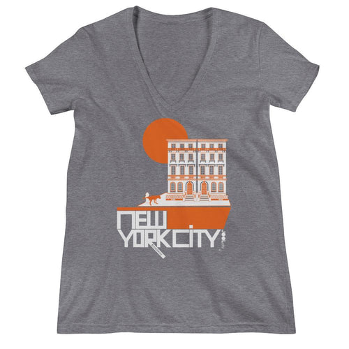 New York Brownstone Doggy Women's Fashion Deep V-neck Tee