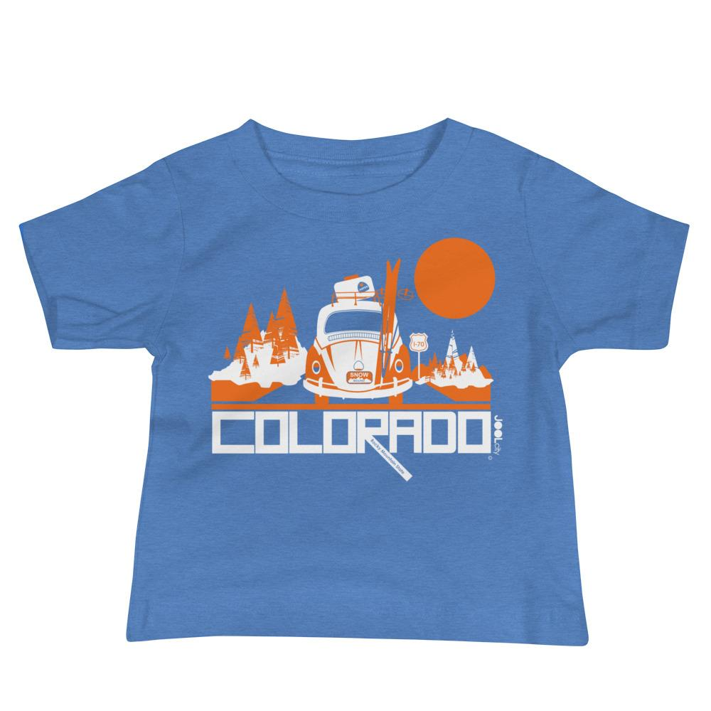 Colorado Ski Bug Baby Jersey Short Sleeve Tee T-Shirts Heather Columbia Blue / 18-24m designed by JOOLcity