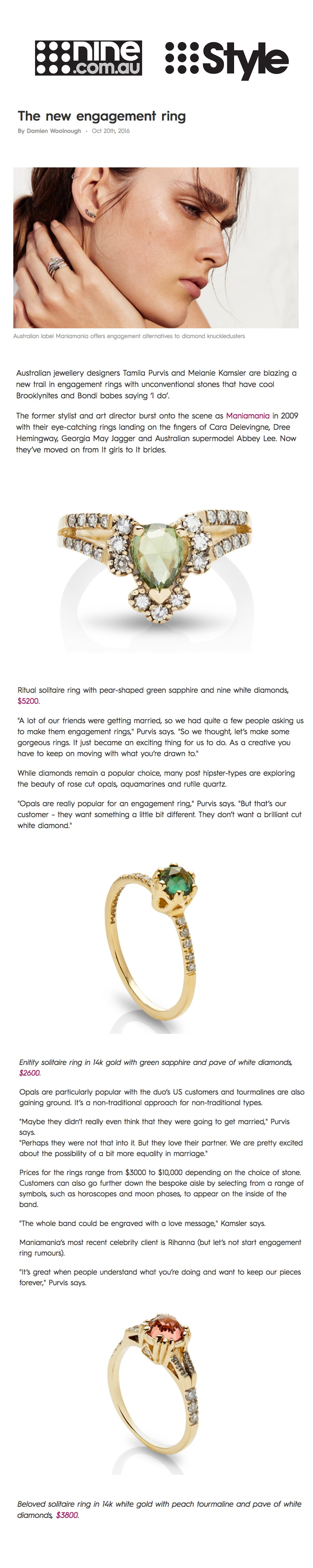 IMAGE ALT TEXT - maniamania unconventional engagement rings with alternatives to diamonds